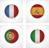 Vector flags of countries as fabric badges Royalty Free Stock Photo