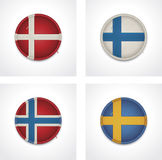 Vector flags of countries as fabric badges Royalty Free Stock Image