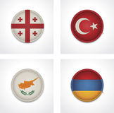 Vector flags of countries as fabric badges Stock Photos