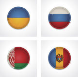 Vector flags of countries as fabric badges Stock Photography