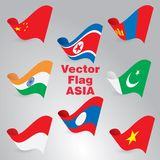 Vector flags. Countries, waving in the wind, with the shadow volume Stock Photos