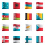 Vector flags. Europe, part 1. Set of detailed flags as textile ribbon tags Stock Images