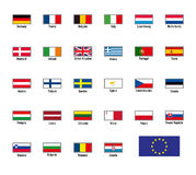 Vector flags of The European Union Stock Images