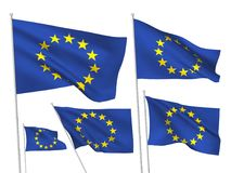 Vector flags of Europian Union. Europian Union vector flags set. 5 wavy 3D cloth pennants fluttering on the wind. EPS 8 created using gradient meshes isolated on royalty free illustration