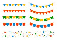 Vector flags and garlands Stock Photography