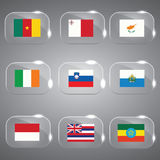 Vector Flags Glass Set. 9 Flags of the world set vector Royalty Free Stock Photos