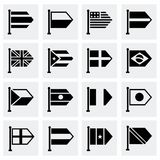 Vector Flags icon set. On grey background Royalty Free Stock Images
