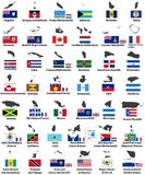 Vector flags and maps of North American countries Stock Photography