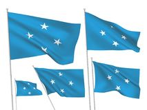 Vector flags of Micronesia. Micronesia vector flags set. 5 wavy 3D cloth pennants fluttering on the wind. EPS 8 created using gradient meshes isolated on white stock illustration