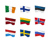 Vector flags - Northern Europe Royalty Free Stock Images