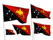 Vector flags of Papua New Guinea. Papua New Guinea vector flags set. 5 wavy fabric 3D flags fluttering on the wind. EPS 8 created using gradient meshes isolated stock illustration