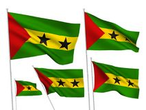 Vector flags of Sao Tome and Principe. Sao Tome and Principe vector flags set. 5 wavy fabric 3D flags fluttering on the wind. EPS 8 created using gradient meshes royalty free illustration