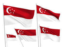 Vector flags of Singapore. Singapore vector flags set. 5 wavy 3D cloth pennants fluttering on the wind. EPS 8 created using gradient meshes isolated on white stock illustration