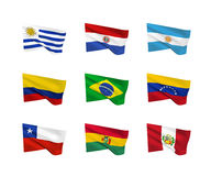 Vector flags South American countries Royalty Free Stock Photo
