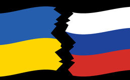 Vector flags of Ukraine and Russia - crack. Flags of Ukraine and Russia - crack - vector Stock Image