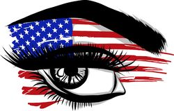 Vector Flags of the USA in beautiful female eye vector illustration