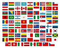 Vector flags of the world. Flags of the participating countries in the 2018 International Winter Sports Competitions. Vector flags of the world. Flags of the Stock Image