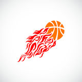 Vector, flame, fire, ball, orange, basketball,. Vector flame fire ball basketball symbol icon Stock Photo
