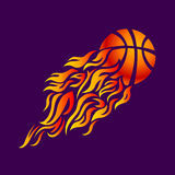 Vector, flame, fire, ball, orange, basketball,. Vector flame fire ball basketball symbol icon Stock Image