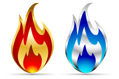 Vector flame icons. Cold and hot Stock Image