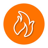 Vector Flame Line Icon. Vector line illustration of a flame icon in two dimensional perspective Royalty Free Stock Photography