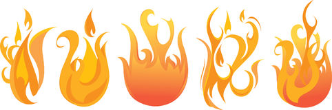 Vector Flame Set. Set of five  flames and fire Stock Image