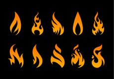 Vector Flame Shapes. Vector Flames. Set of different fire shapes on black background Stock Photography