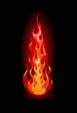 Vector flames on black background Royalty Free Stock Photos