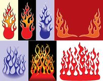 Vector. Flames set Royalty Free Stock Photo