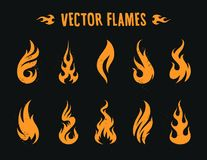 Vecstor Fire Icons. Vector Flames. Set of different fire shapes on black background Royalty Free Stock Photo