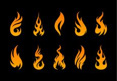 Vector Flame Shapes. Vector Flames. Set of different fire shapes on black background Royalty Free Stock Photography