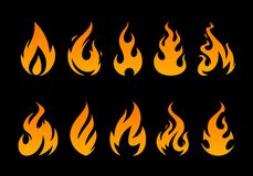 Vector Flames. Set of different fire shapes on black background Stock Image
