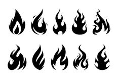 Vector Flames. Set of different fire shapes on white background Royalty Free Stock Photo