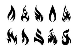 Vector Fire Icons. Vector Flames. Set of different fire shapes on white background Stock Photography