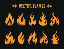 Vector Flames. Set of different fire shapes on black background Royalty Free Stock Photo