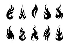 Vector Flames. Set of different fire shapes on white background Royalty Free Stock Images
