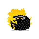 Vector Flaming Wheel Cartoon Illustration. Royalty Free Stock Photography