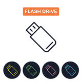 Vector flash drive  icon. Simple thin line image. Royalty Free Stock Photos