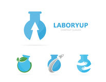 Vector of flask and arrow up logo combination. Laboratory and growth symbol or icon. Unique science and bottle logotype Stock Images
