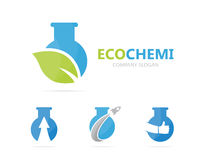Vector of flask and leaf logo combination. Laboratory and eco symbol or icon. Unique organic and bottle logotype design Royalty Free Stock Photos