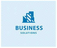 Vector flat abstract construction company brand design blue template. Royalty Free Stock Image