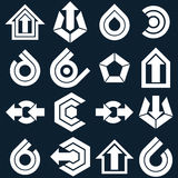 Vector flat abstract icons set, simple corporate graphic design Stock Photography
