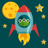 Vector flat alien in a rocket Royalty Free Stock Images