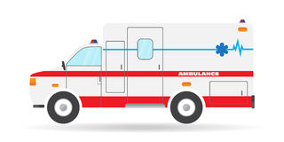 Vector flat ambulance vehicle illustration car emergency auto icon Royalty Free Stock Photo