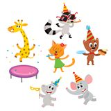 Vector flat animals party set isolated Stock Photo