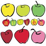 Vector 6 flat apples different colors in a primitive manner royalty free illustration