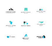 Vector flat architecture company logo collection. Design studio insignia. House design bureau and home market brand mark template Royalty Free Stock Image