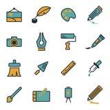Vector flat art icons set Stock Photos