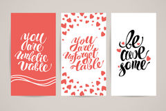 Vector flat artistic creative cards with lettering. Stock Image