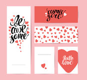 Vector flat artistic creative cards with lettering. Royalty Free Stock Photos